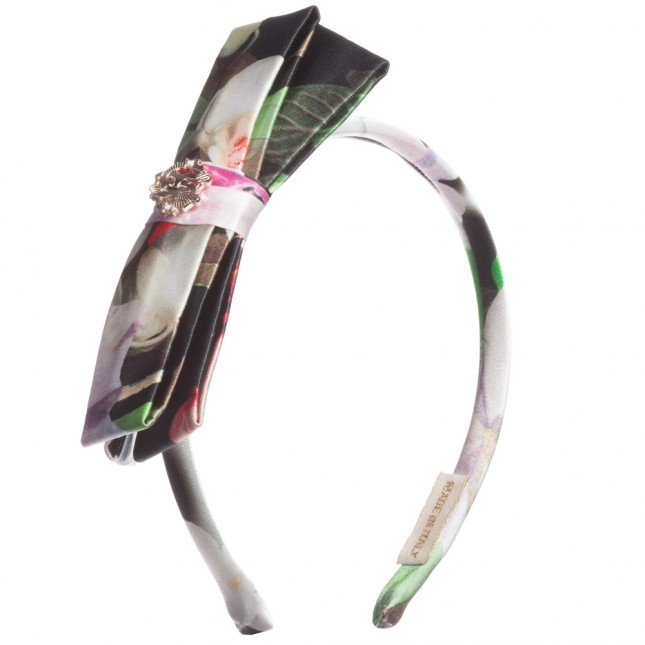 ROBERTO CAVALLI Girls Black Floral Silk Hairband