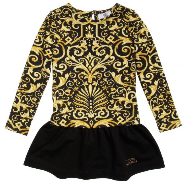 YOUNG VERSACE Black Baroque Print Dress