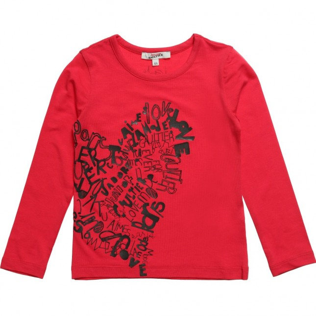 JUNIOR GAULTIER Girls Red Jersey Top with Heart Logo