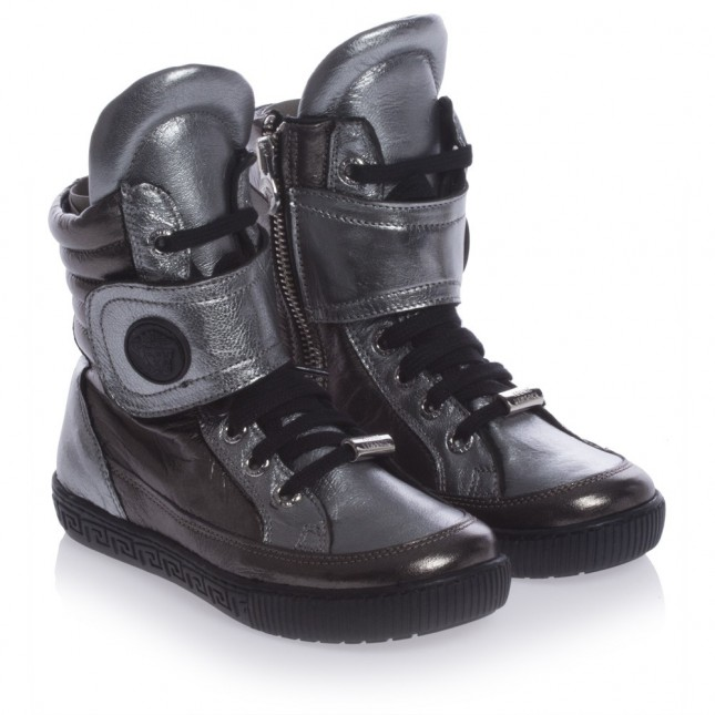 YOUNG VERSACE Metallic Leather High-Top Trainers