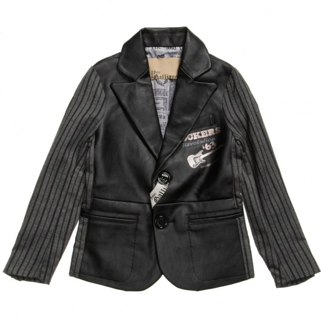 JOHN GALLIANO Boys Black Leather Blazer
