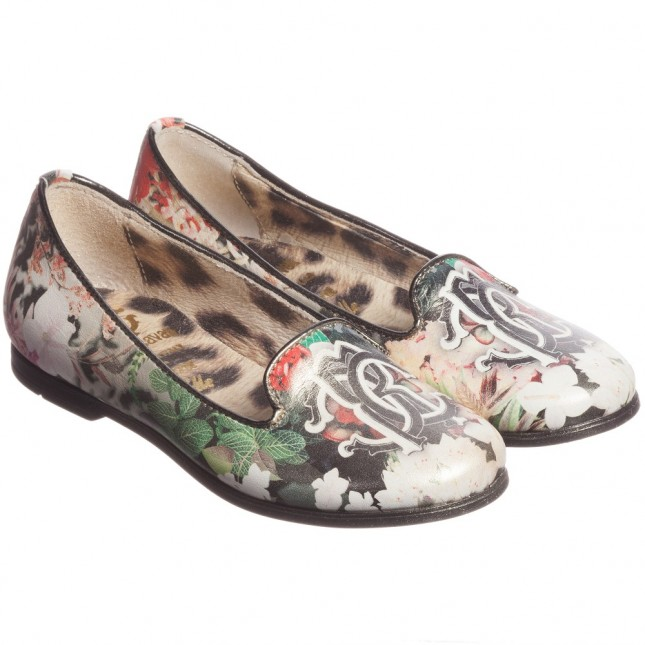 ROBERTO CAVALLI Girls Floral Leather Shoes