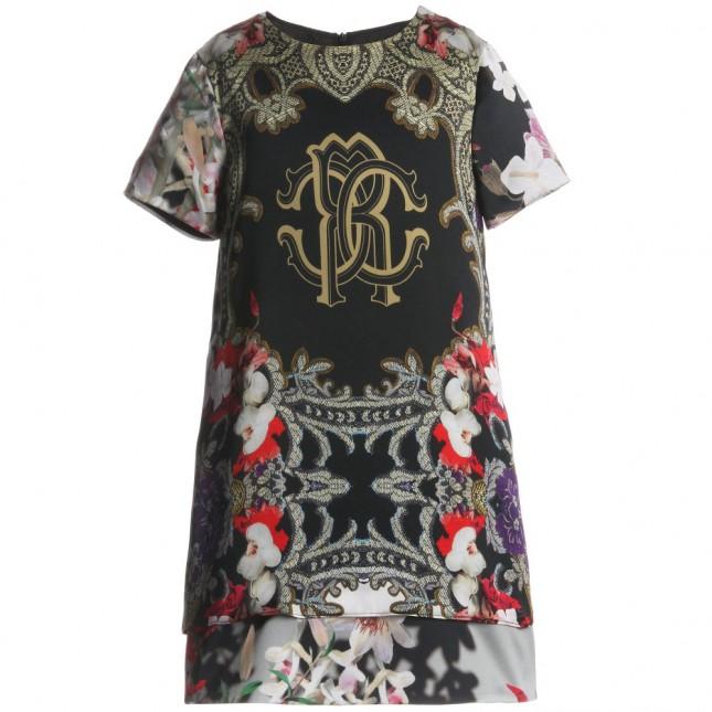 ROBERTO CAVALLI Black Antique Silk 'RC' Dress