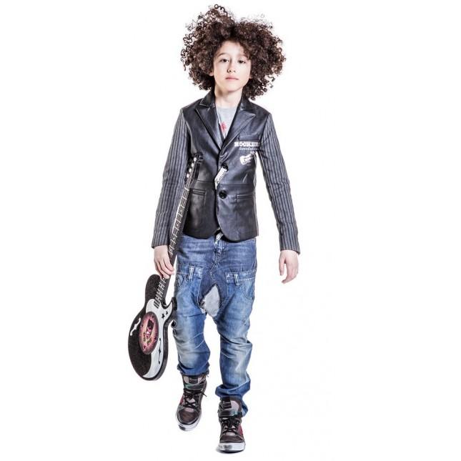 JOHN GALLIANO Boys Black Leather Blazer Outfit