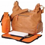 OiOi Tan Lamb Leather Diaper Bag - Orange