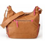OiOi Tan Lamb Leather Diaper Bag - Pink