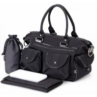 OiOi Black Wash with Patent Trim Carry All Diaper Bag