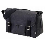 OiOi Black Waxed Canvas Diaper Bag