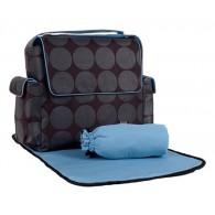 OiOi Grey Dot with Blue Interior Messenger Diaper Bag