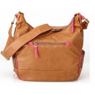 OiOi Tan Lamb Leather Diaper Bag - Pink