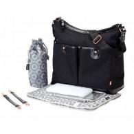 OiOi Black Balistic Hobo Diaper Bag
