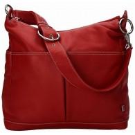 OiOi Pompeian Red Leather Two Pocket Hobo Diaper Bag