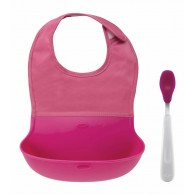OXO Tot On-the-Go Bib & Spoon Set in Pink