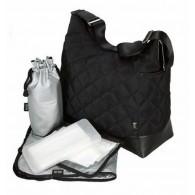 OiOi Diamond Quilted Black Hobo Diaper Bag