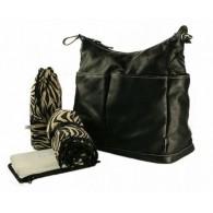 OiOi Black Zebra Leather Hobo Diaper Bag