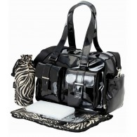 OiOi Black Patent with Zebra Carry All Diaper Bag