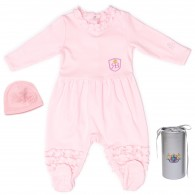 RB Royal Baby Organic Cotton Gloved Sleeve Footed Overall Footie with Hat in Gift Box (Little Ballerina)