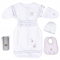 RB Royal Baby Snap and Dream Swaddle Transition with hat and bib in Gift Box. Hip-Healthy Design
