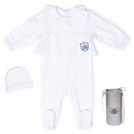 RB Royal Baby Organic Cotton Sleeve Footed Overall Footie with Hat in Gift Box (Forever Me)