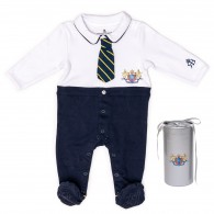 RB Royal Baby Organic Cotton Gloved Sleeve Footed Overall Footie in Gift Box (Little Man)