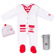 RB Royal Baby Organic Cotton Gloved Sleeve Footed Overall Footie with Hat in Gift Box (Captain)