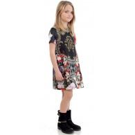 ROBERTO CAVALLI Black Antique Silk 'RC' Dress Outfit