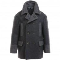 DOLCE & GABBANA Boys Grey Wool Coat with Green Puffer Back