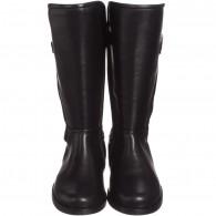 DOLCE & GABBANA Girls Black Leather & Bouclé Wool Riding Boots
