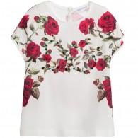 DOLCE & GABBANA Girls Jersey & Silk 'Red Rose' Top