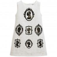 DOLCE & GABBANA Ivory Silk Brocade Portrait Dress