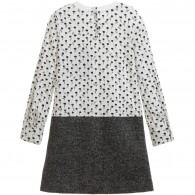 DOLCE & GABBANA Ivory Jersey Layered Dress with Tweed Skirt