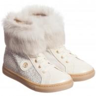 MISS BLUMARINE Girls Ivory Leather Diamante Fur Boots