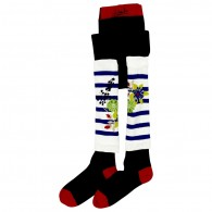 JUNIOR GAULTIER Navy Blue Tights with Striped Leg Warmers