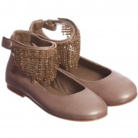 MISS BLUMARINE Girls Gold Shoes with Ankle Strap