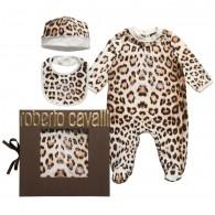 ROBERTO CAVALLI 'Brown Leopard' Babygrow, Hat & Bib Set