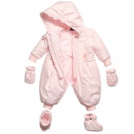 MISS BLUMARINE Baby Girl Pink Frilly Hooded Snowsuit