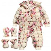 MISS BLUMARINE Baby Girl Floral Print Hooded Snowsuit