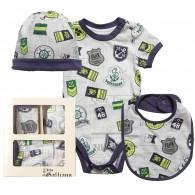 JOHN GALLIANO Baby Boys Cotton Bodysuit, Hat and Bib Gift Set