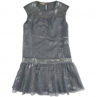 JOHN GALLIANO KIDS Flowing gazette-printed party dress