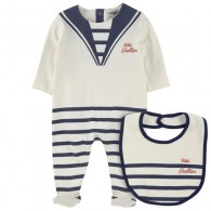 JUNIOR GAULTIER Cotton jersey sleepsuit and matching bib - Ecru