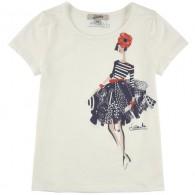JUNIOR GAULTIER Stretch modal and cotton jersey T-shirt - Ecru