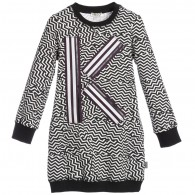 KENZO Black & White Zigzag Pattern Dress
