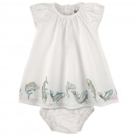 KENZO KIDS White cotton voile dress and bloomers