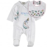 KENZO KIDS Long-sleeved cotton jersey sleepsuit and bib