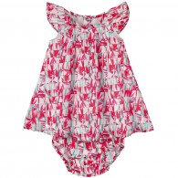 KENZO KIDS Printed cotton voile dress and bloomers