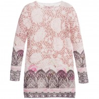 MISS BLUMARINE Lace Printed Knitted Sweater Dress
