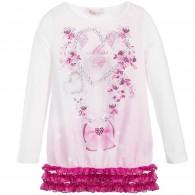 MISS BLUMARINE Girls Pink Ruffled Diamanté Long Top