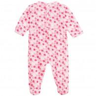 PETIT BATEAU Girls Pink Floral Babysuit