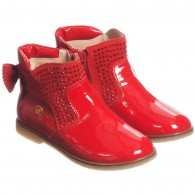 MISS BLUMARINE Red Patent Leather Diamante Ankle Boots