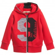 JOHN GALLIANO Boys Red Cotton Jersey Zip-Up Top